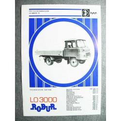 Original Prospekt Robur LO 3000 Pritschenwagen deutsch